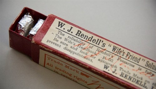 "Rendell's Pessaries were always advertised as the ""Wife's Friend."" The first commercial pessaries were made in 1885."