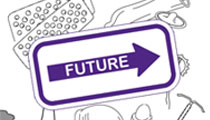 Contraception options with an arrow overlaid saying 'future' pointing right