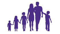 Silhouette of a family with 6 members