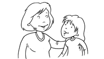 A parent or caregiver talking with their child (illustration)