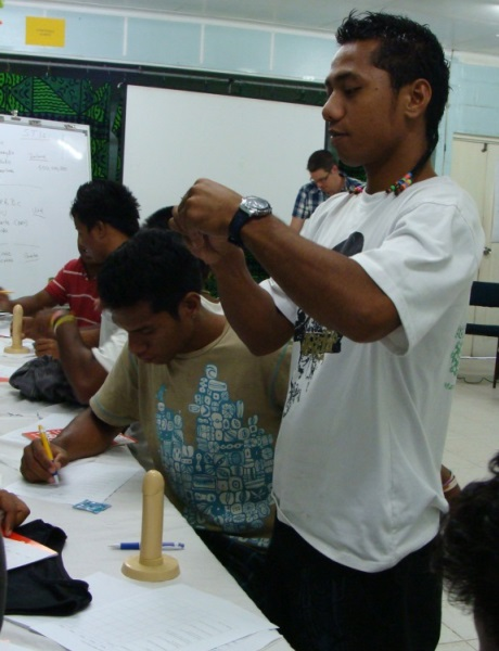A heath promotion workshop in Kiribati as part of the Healthy Families Project.