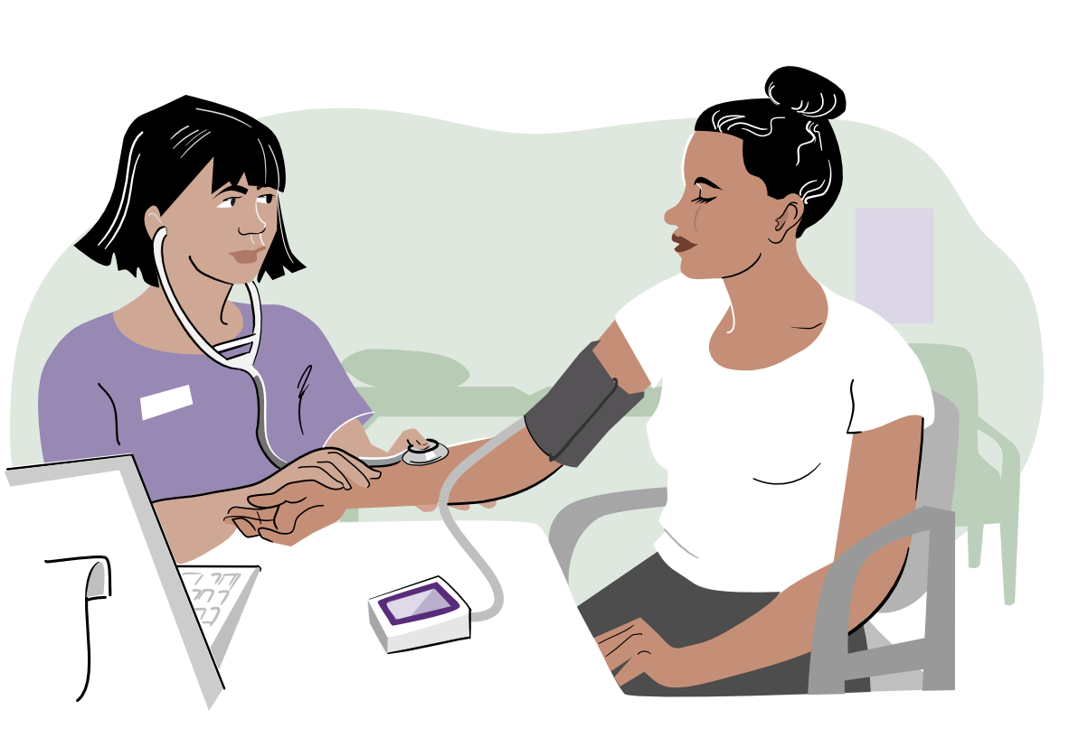 A nurse taking a patient's blood pressure